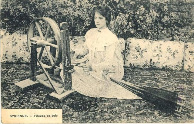 Syrian girl weaving silk at the end of the 19th century