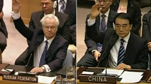 Russia and China voting VETO in UN against taking any action in Syria - The VETO was used twice