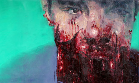 Tarek Tuma's portrait of Hamza Bakkour, the 13-year-old boy shot in the face during a siege in Homs, February 2012.