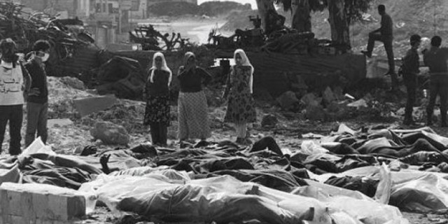 Tel al-Zaatar Massacre during Lebanese Civil War perpetrated by Assad forces and Maronites militia