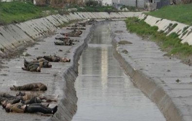 The massacre of Queiq River in Aleppo. More than 200 bodies were tortured to death by Syrian regime security forces then dumped in the river to be drifted to the other part of the city where they were pulled out by civilians.
